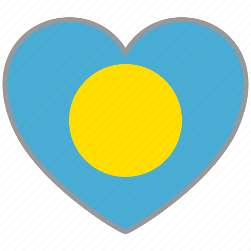 country, flag, flag heart, love, national, palau icon