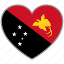 flag, flag heart, love, papua new guinea icon