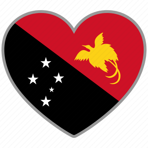 flag, flag heart, love, papua new guinea icon