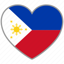 country, flag, flag heart, love, national, philippines icon