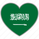 flag, flag heart, love, saudi arabia icon