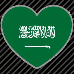 flag, flag heart, love, saudi arabia icon