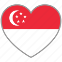 flag heart, singapore, country, flag, national, love