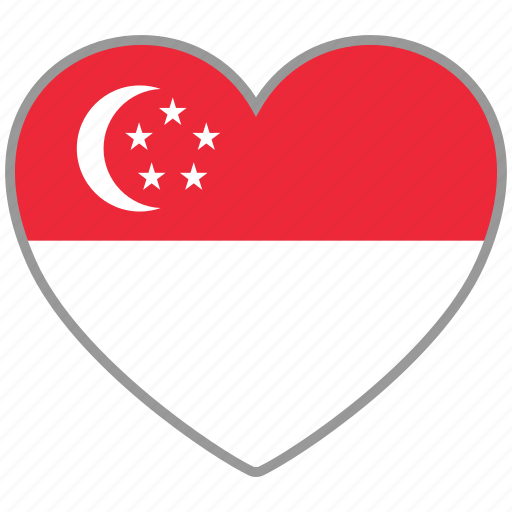 country, flag, flag heart, love, national, singapore icon