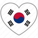flag, flag heart, love, south korea icon
