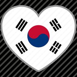 flag, flag heart, love, south korea icon