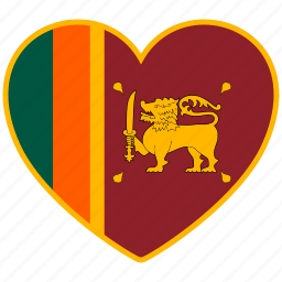 country, flag, flag heart, love, national, srilanka icon