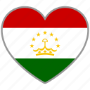 country, flag, flag heart, love, nation, tajikistan icon