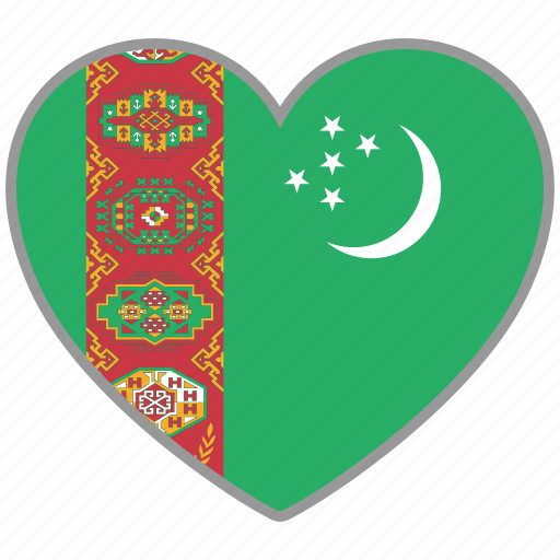 country, flag, flag heart, love, nation, turkmenistan icon