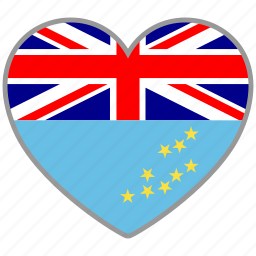 country, flag, flag heart, love, nation, tuvalu icon