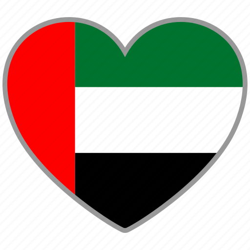 country, flag, flag heart, love, nation, uae icon