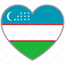 country, flag, flag heart, love, nation, uzbekistan icon