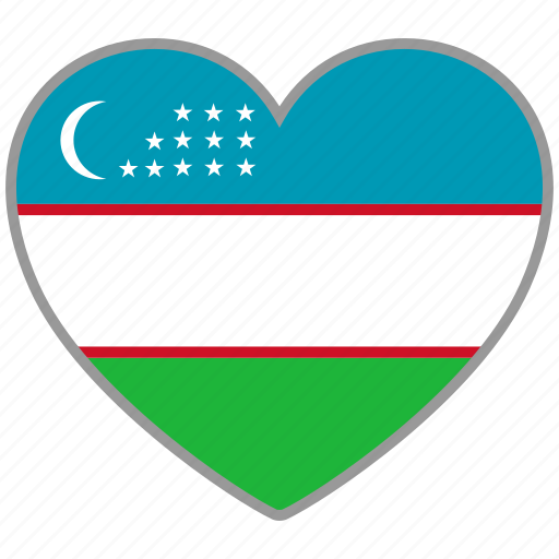 country, flag, flag heart, love, nation, uzbekistan icon