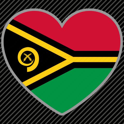 country, flag, flag heart, love, nation, vanuatu icon