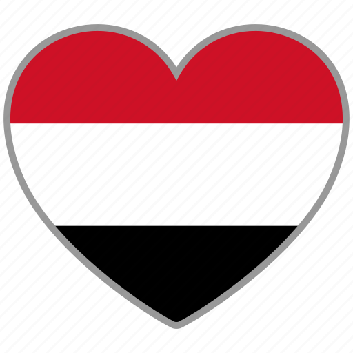 country, flag, flag heart, love, nation, yemen icon