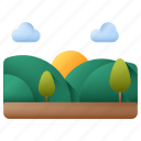 hill, nature, sunny, trees, hills, landscape, clouds