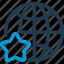 earth, favourite, globe, globus, map, star, world icon