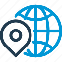 earth, globe, map, pin, place, pointer, world icon