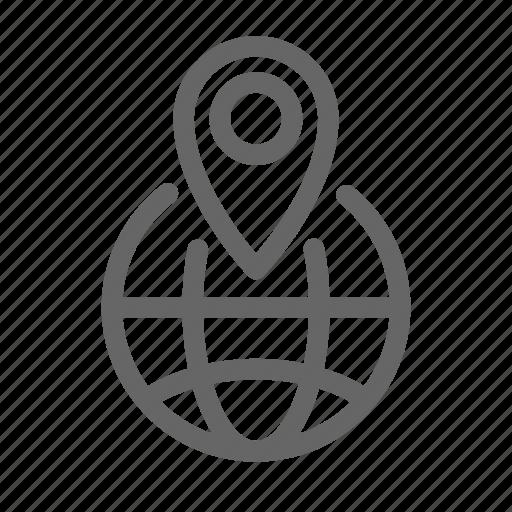 location, map, pin, world icon