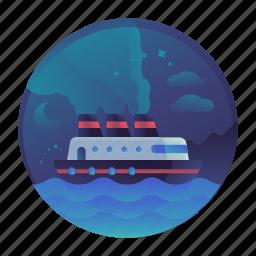 boat, cruise, island, ocean, sea, ship, travel