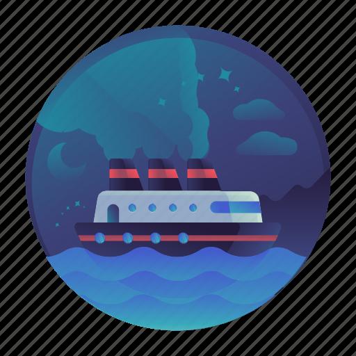 boat, cruise, island, ocean, sea, ship, travel icon