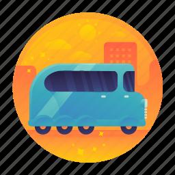 bus, car, excursion, tour, tourism, travel icon