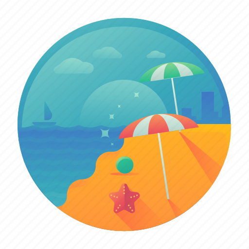 beach, holiday, sea, summer, travel, vacation icon