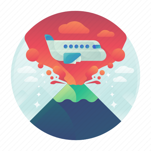 adventure, danger, eruption, flight, plane, travel, volcano icon