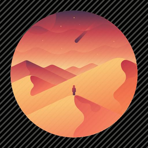 africa, desert, dunes, scenery, travel icon