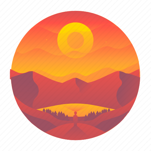 lake, nature, oasis, sunrise, travel, valley, view icon
