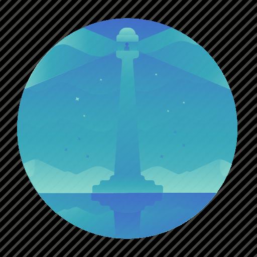 landmark, lighthouse, monument, sea, travel icon