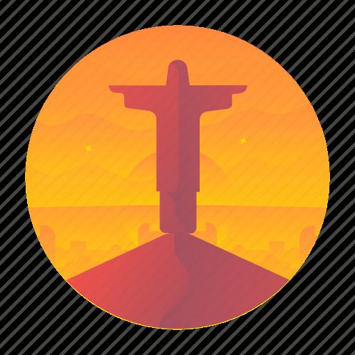 brazil, janeiro, jesus, monument, rio, travel icon