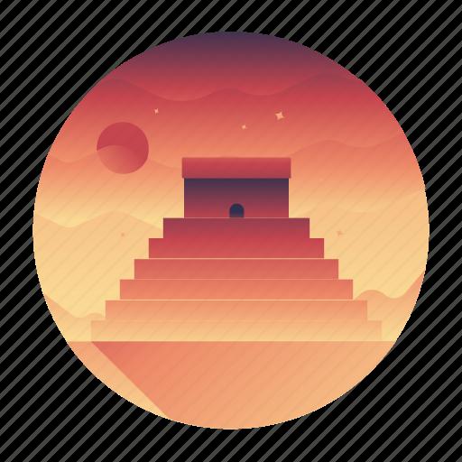 chichen itza, mexico, monument, pyramid, travel icon
