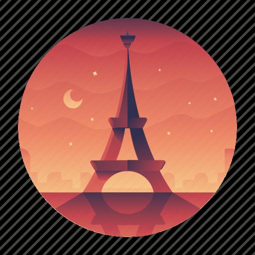 eiffel, monument, paris, tower, travel icon