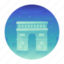 arc de triomphe, france, landmark, monument, paris, travel icon