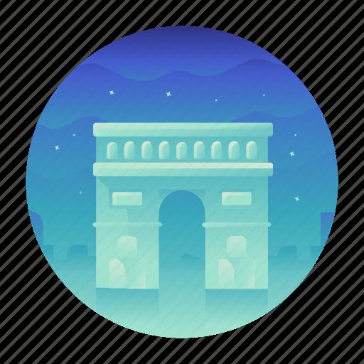 arc de triomphe, france, landmark, monument, paris, travel icon