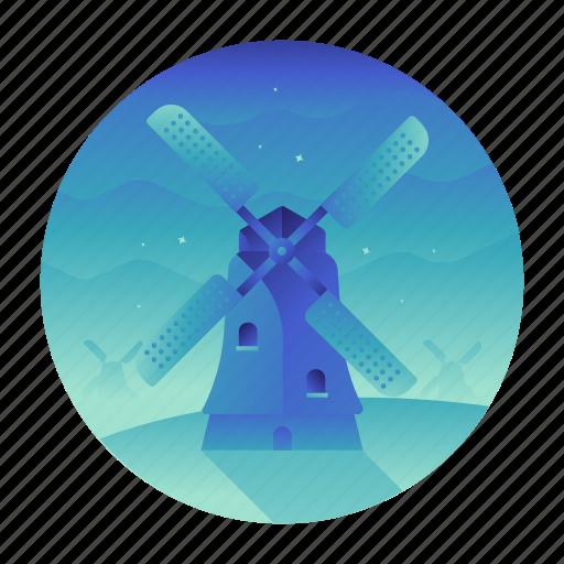 holland, landmark, mill, travel, wind, windmill icon