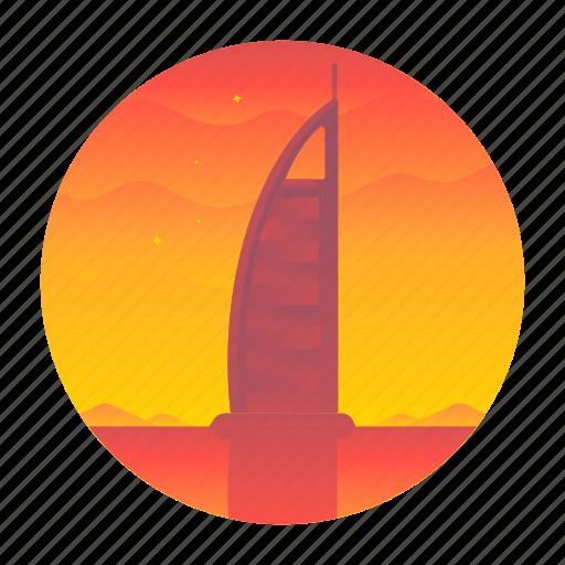 burj, dubai, monument, travel icon