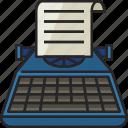 typewriter, typing, keyboard, writer, paper, office, writing