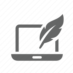 computer, content, feather, laptop, management, technical, writer icon