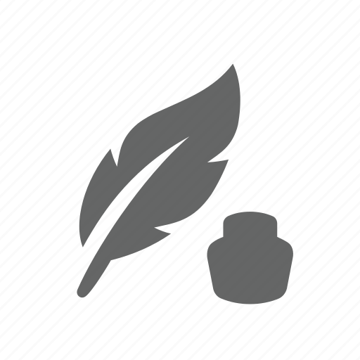 bottle, feather, ink, inkpot, inkwell, pen, write icon