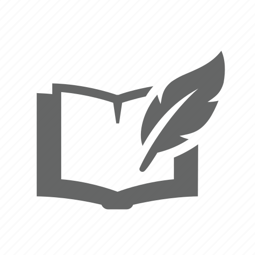 book, compose, creative, feather, novel, poetry, writing icon