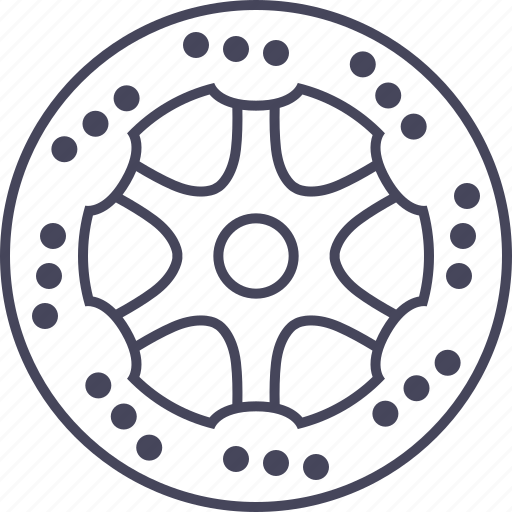 bicycle, brake, deceleration, disc, rotor icon