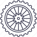 bicycle, mountain bike, rear wheel, wheel icon
