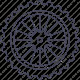 bicycle, mountain bike, rear wheel, wheel icon