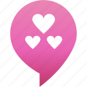 flirt, hearts, love, marker, pin, rande, valentine icon