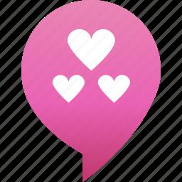 flirt, hearts, love, marker, pin, rande, valentine icon