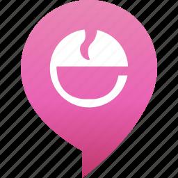 coffee, drink, flirt, map, marker, rande, tea icon
