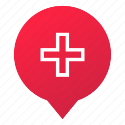 emergency, first aid, help, hospital, markers, plus, wsd icon
