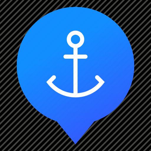 anchor, boat, cruise, harbor, haven, ship, wsd icon